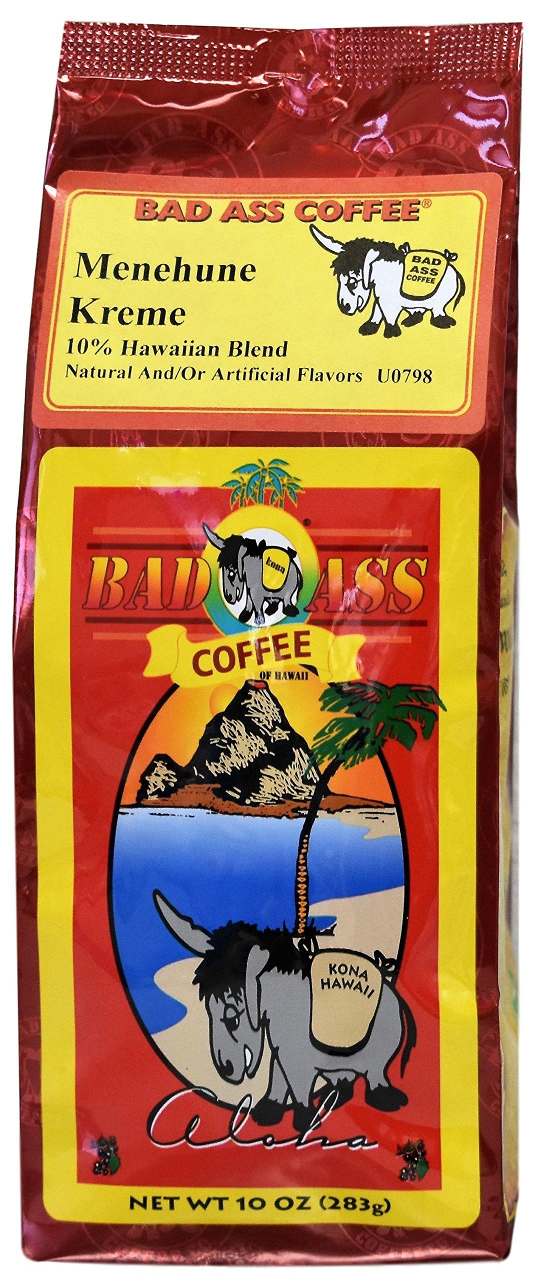 Bad Ass Coffee - Whole Bean Hawaiian Blend Coffee, Menehune Kreme - 10 Ounces