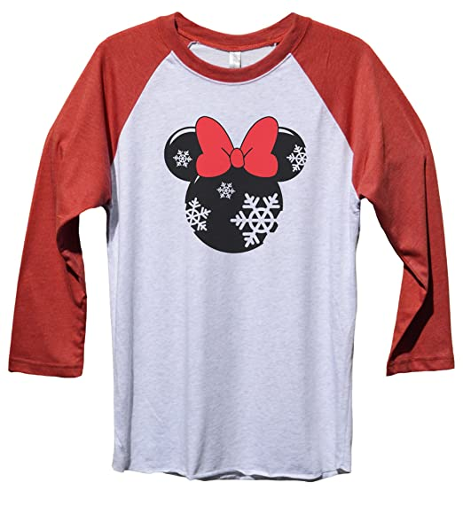 "95a8c15f Funny Threadz Minnie Mouse Christmas Baseball Tee ""Minnie Mouse"" Disney  Christmas Baseball Tee X"