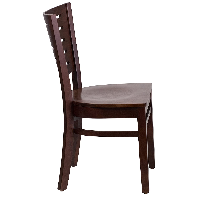Flash Furniture Darby Series Slat Back Walnut Wood Restaurant Chair