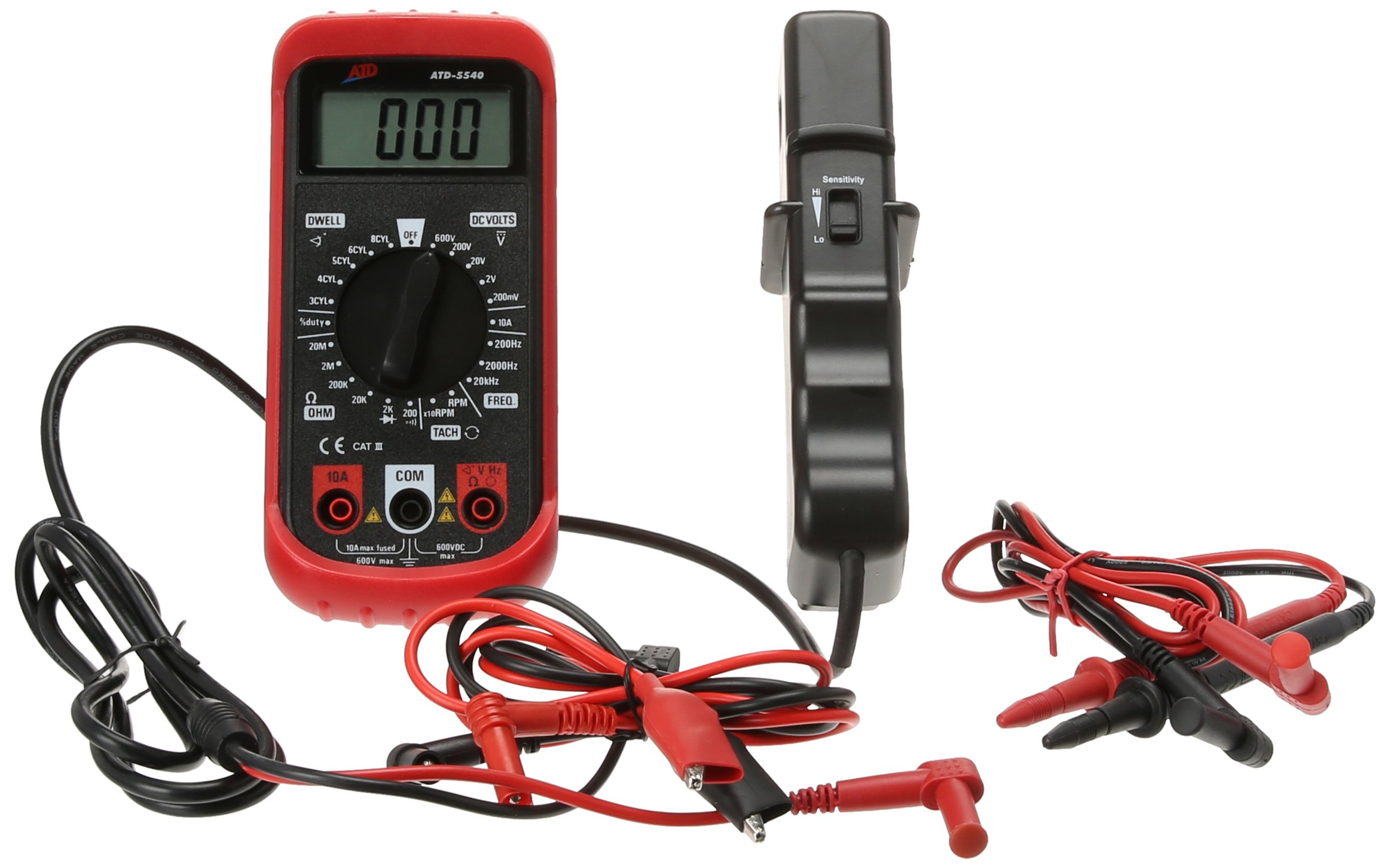 Advanced Tool Design Model ATD-5540 Multi-Function Automotive Tester with Inductive RPM Pick-Up and Two Sets of Test Leads by ATD (Image #1)