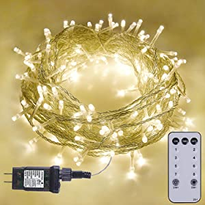 [Remote and Timer] 75.13FT 200 LED Fairy String Lights, Christmas Lights Plug in 8 Modes for Indoor Outdoor Christmas Tree Decoration, Bedroom, Wedding, Party, Garden (Warm White)