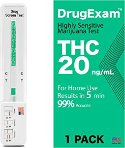 1 Pack - DrugExam Made in USA Highly Sensitive Marijuana THC 20 ng/mL Single Panel Drug Test Kit - Marijuana Drug Test with 20 ng/mL Cutoff Level for Detecting Any Form of THC in Urine up to 45 Days