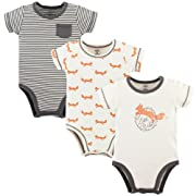 Touched by Nature Unisex Baby Organic Cotton Bodysuits, Fox 3Pk, 0-3 Months (3M)