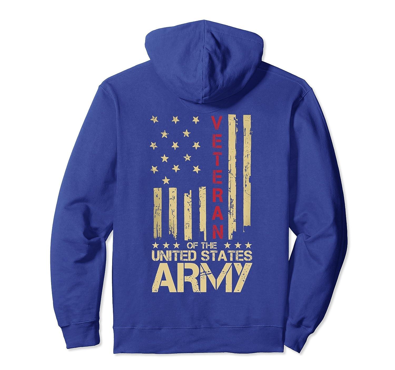 Patriotic U.S Army Veteran Red Line American Flag Hoodie Tee-alottee gift