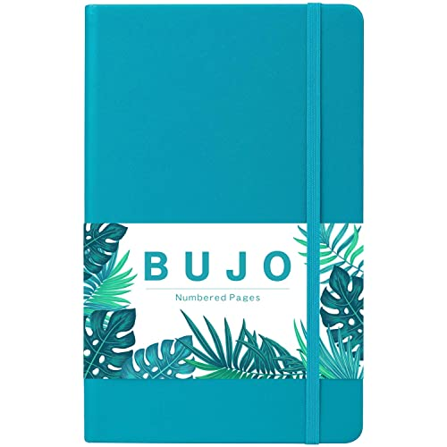 """Dotted Grid Journal - Numbered Pages Dotted Grid Hard Cover Notebook, Thick Paper with Inner Pocket & 2 Bookmarks, Smooth Faux Leather with Label, 5.25"""" x 8.25"""", Christmas Gift - Teal by Artfan"""