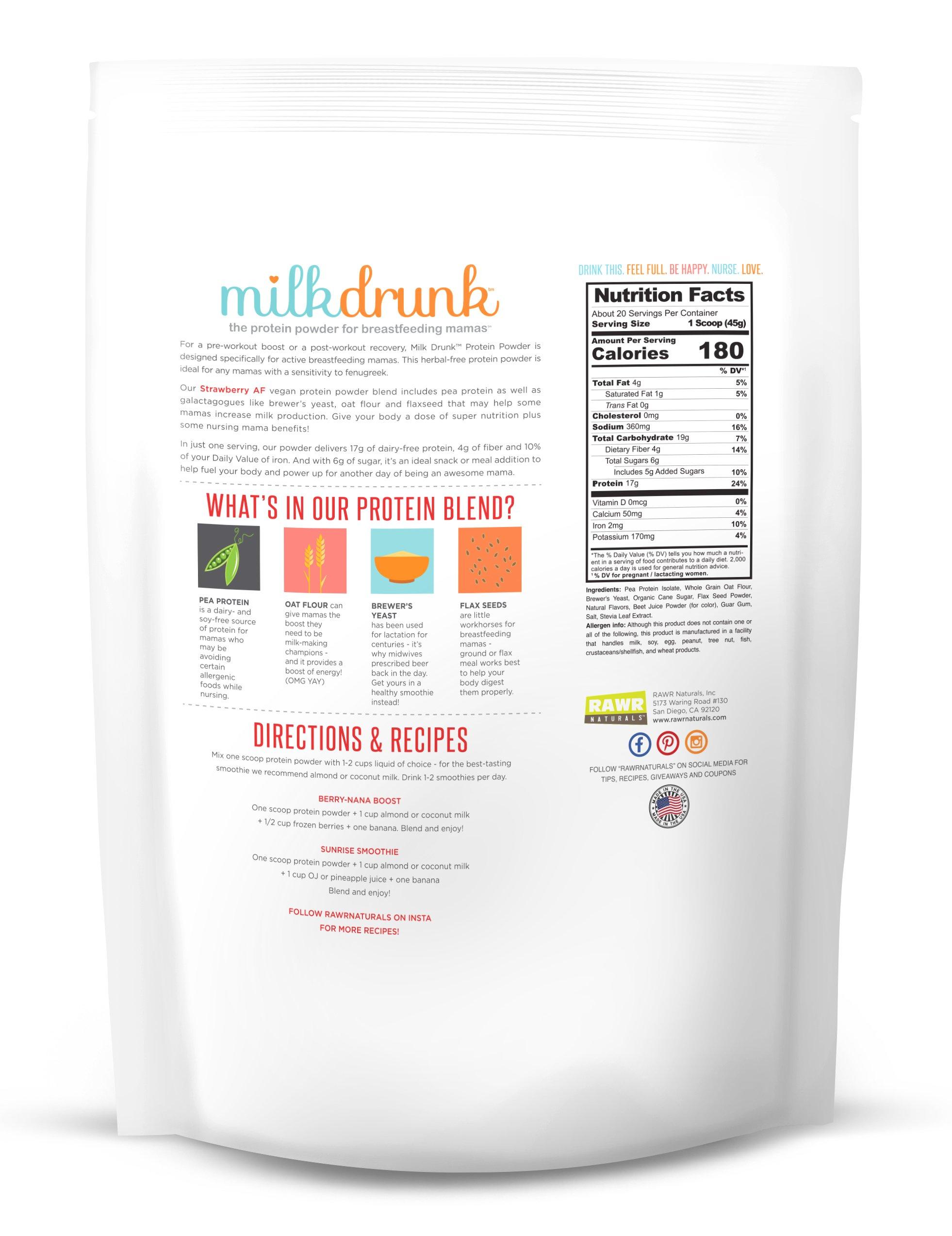 3 Bag Fenugreek-Free Variety Pack - Milk Drunk Protein Powder for Breastfeeding - 60 Servings Vegan Protein, Lactation-Boosting 17g Protein 4g Fiber 6g Sugar - Oat Flour, Flax, Brewer's Yeast by Milk Drunk (Image #6)