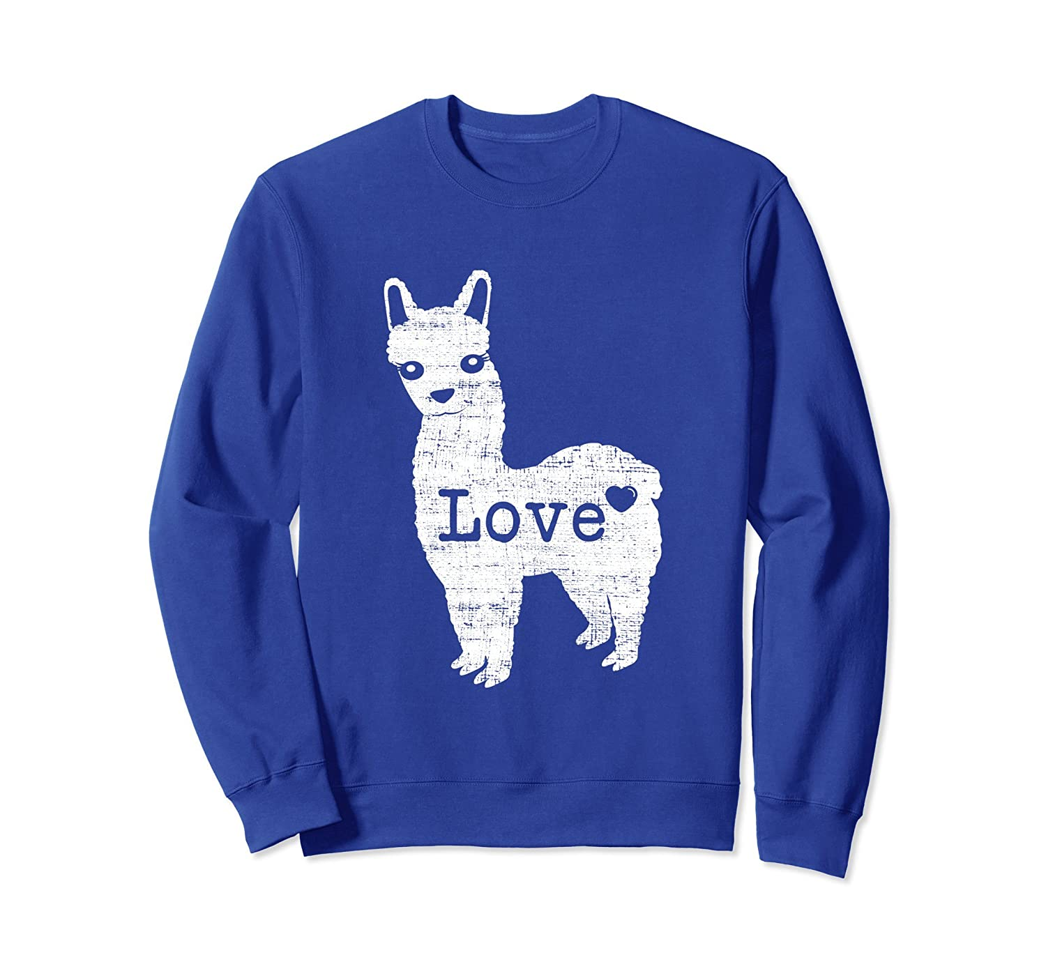 Alpaca Llama Love Distressed Heart Sweatshirt-TH