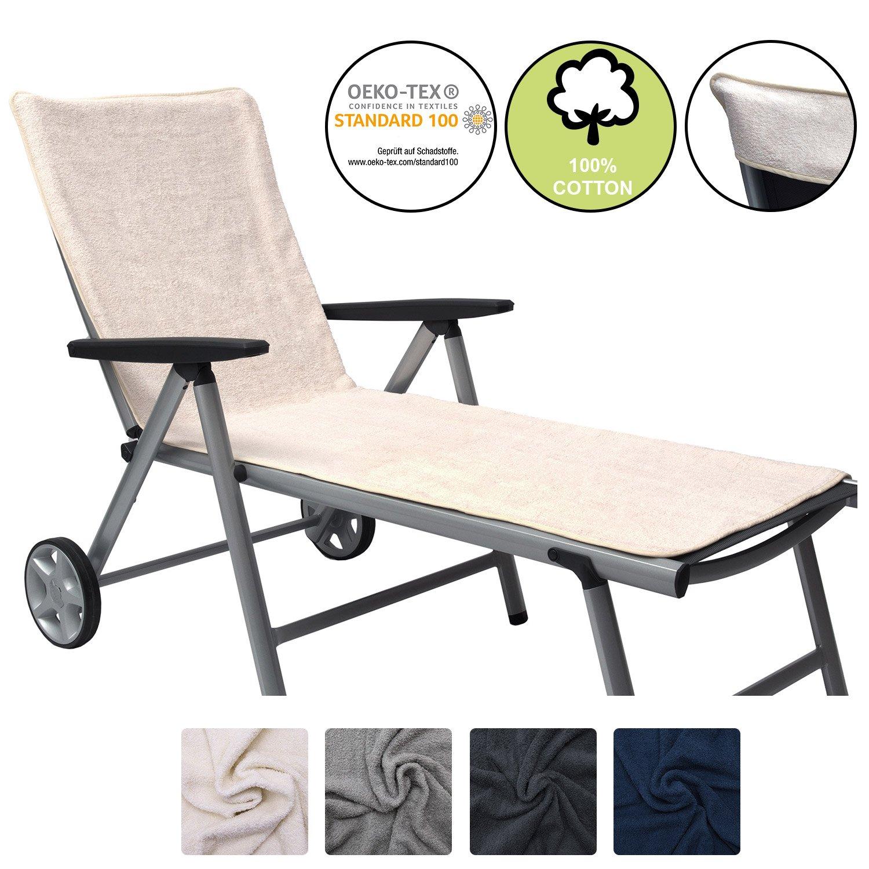 Beautissu Handtuch Liegen-Auflage Marbella 70x200 Badehandtuch Überzug für Strandliege Frottee Schonbezug Sonnenliege - Anthrazit