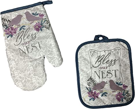Mainstream Kitchen Dish Hand Towels,Oven Mitt and Potholder with Inspirational Quote 4-Piece Linen Set Bless Our Nest