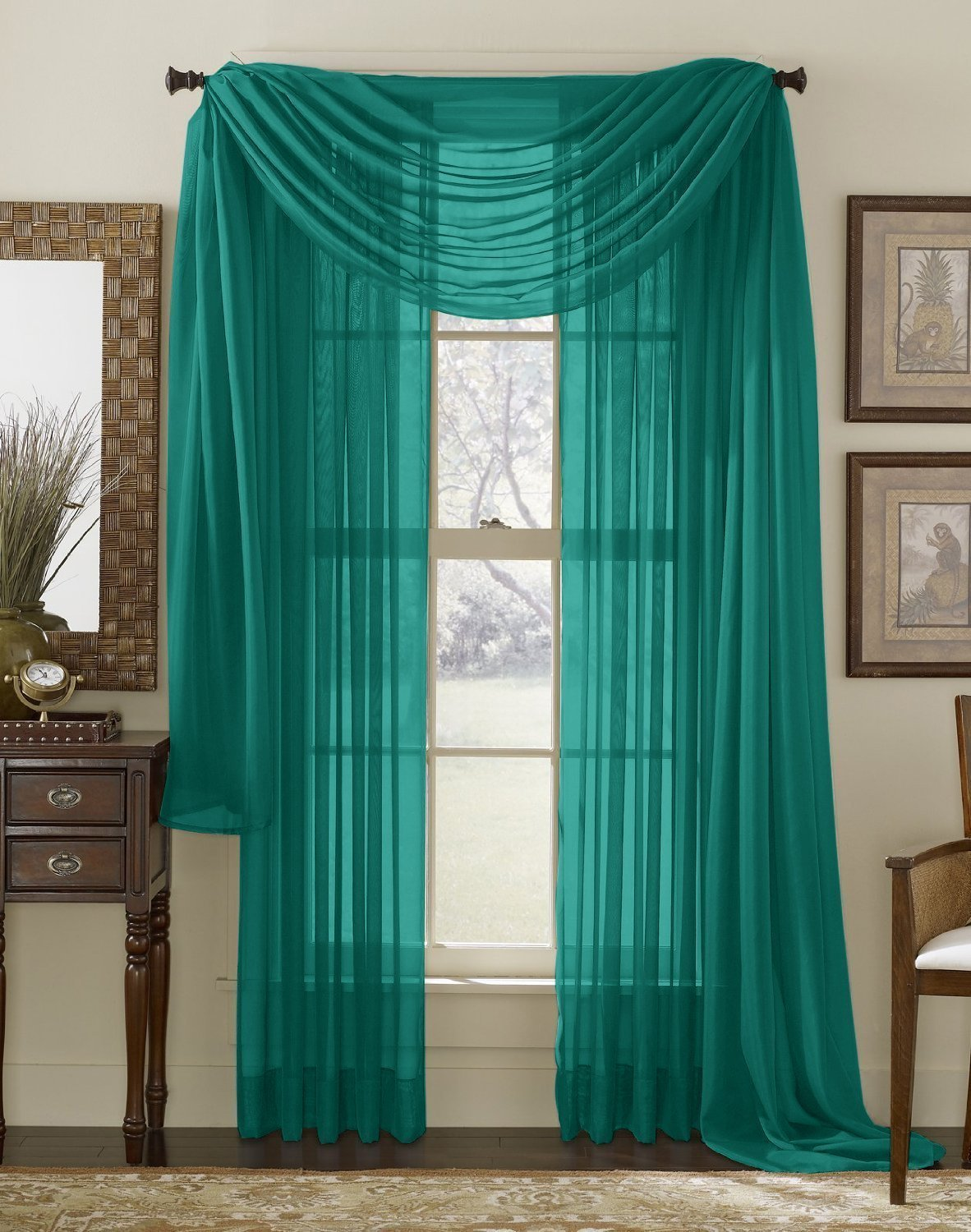 Teal curtain panels - Me Grey Teal 2 Pack 108 Inch X 84 Inch Window Curtain Sheer Panels