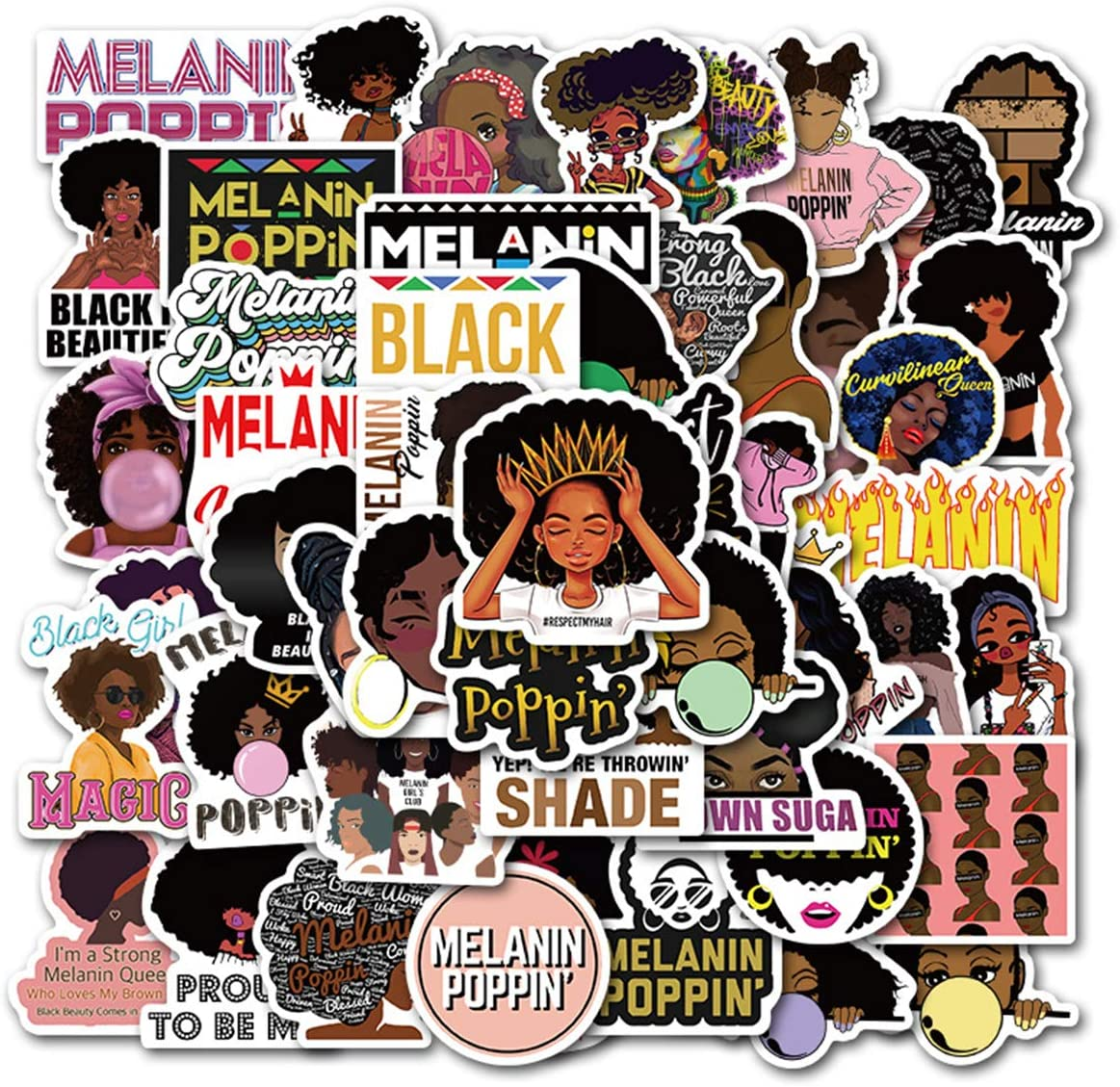 Struggle Stickers Melanin Poppin Stickers 50Pcs Variety Vinyl Waterproof Car Sticker Motorcycle Bicycle Luggage Decal Graffiti Patches Skateboard Stickers for Laptop Stickers (Melanin Poppin)