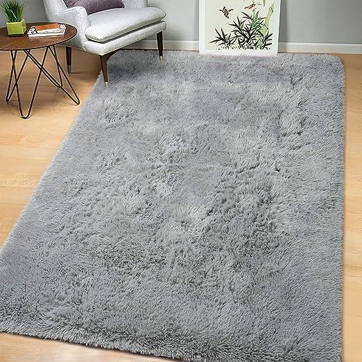 Amazon Com Arogan Soft Fluffy Rug Modern Shag Area Rugs For Bedroom Living Room 4x6 Feet Cute And Comfy Nursery Carpets Luxury Velvet Plush Carpet For Kids Girls Gray Kitchen Dining