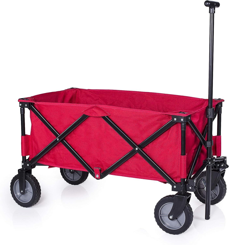 Campart Travel HC-0911 Carrito de jardín plegable, capacidad 70 kg, rojo