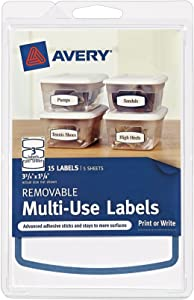 Avery Removable Multi-Use Labels, Blue Border, 3.75 x 1.625 Inches, Pack of15 (41445)