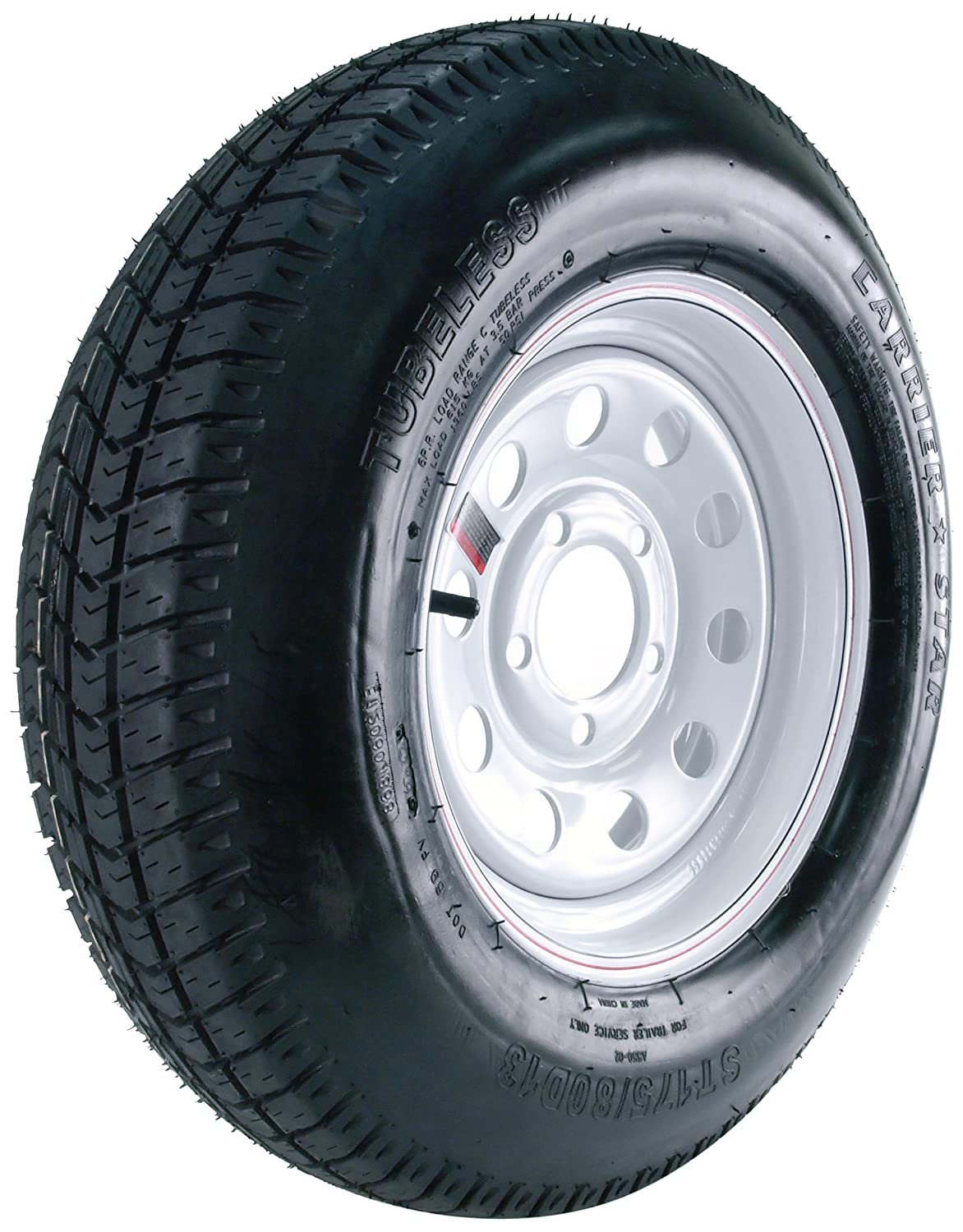 5//4.5 Carrier Star Trailer Tire and 5-Hole Mod Wheel 175//80D-13
