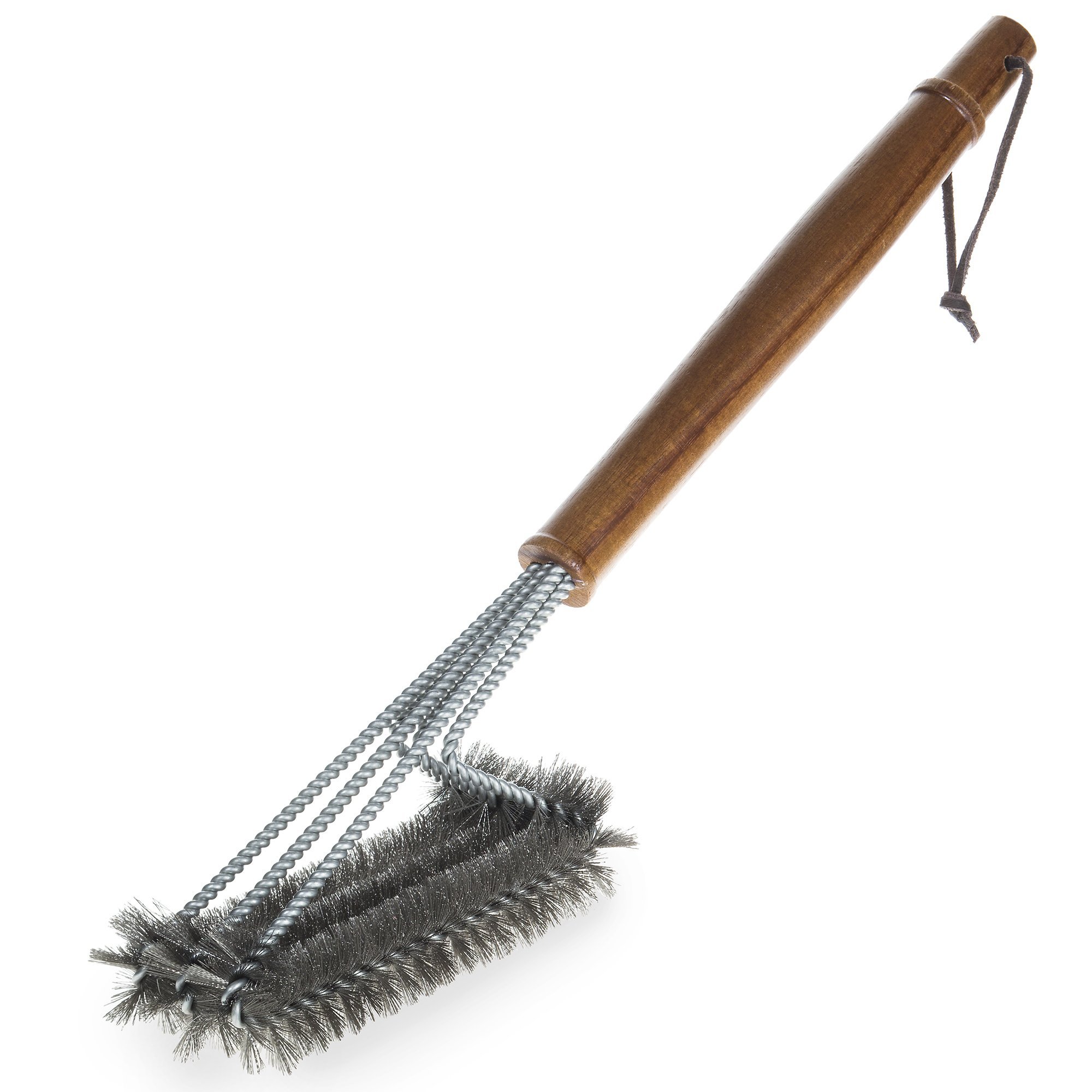 BBQ-Aid Grill Brush – Cleans All Angles, Extended, Large Wooden Handle and Stainless Steel Bristles – No Scratch Cleaning for Any Barbecue or Grill: Char Broil & Ceramic