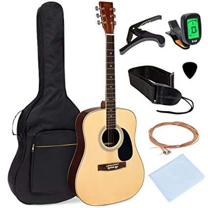 Best Choice Products 41in Full Size All-Wood Acoustic Guitar Starter Kit w/Foam Padded Gig Bag, E-Tuner, Picks, Guitar Strap, Extra Strings, Polishing ...