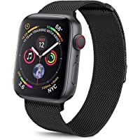 Haotop Replacement Bands Compatible for Apple Watch,Metal Mesh Magnetic Lock Stainless Steel Strap Bracelet Series 4/3/2/1 (42MM/44MM, Black)
