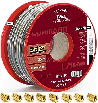 Lokmann - Cable coaxial para antena (25 m, cobre puro, 135 dB, 5 vías, apantallado, 10 conectores F)