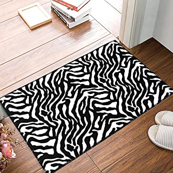 Amazon Com Modern Soft Zebra Rug Black White Doormat Carpet
