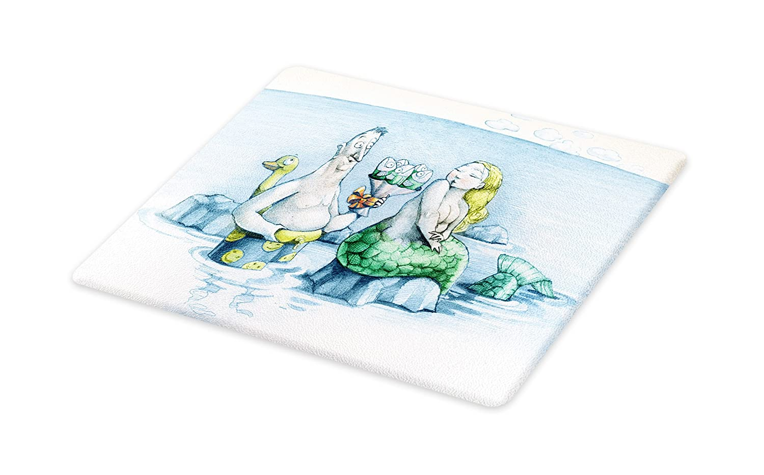 Lunarable Underwater Cutting Board, Funny Man Gives a Mischievous Mermaid a Bouquet of Flowers Made From Fish, Decorative Tempered Glass Cutting and Serving Board, Wine Bottle Shape, Blue Green Yellow