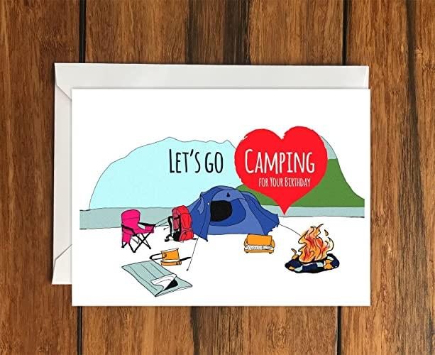 Lets Go Camping For Your Birthday Blank Greeting Card A6 Amazon
