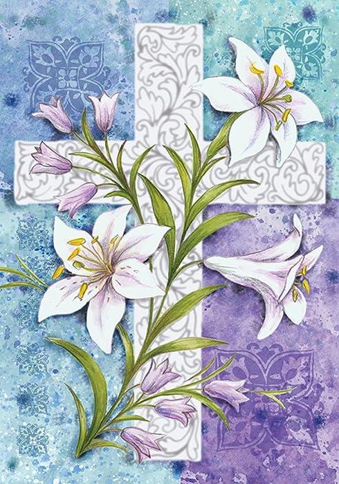 Toland Home Garden Easter Lilies 12.5 x 18 Inch Decorative Spring Flower Religious Cross Garden Flag
