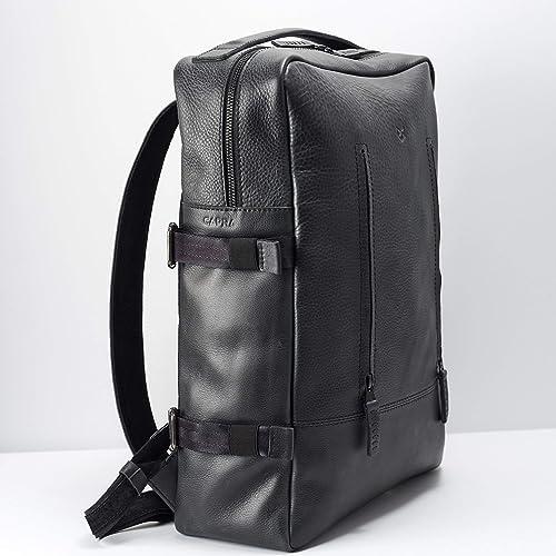 Capra Leather Laptop Backpack for Men. Black