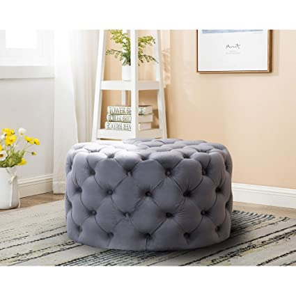 Marvelous Amazon Com Furniture Round Tufted Velvet Ottoman Grey Caraccident5 Cool Chair Designs And Ideas Caraccident5Info