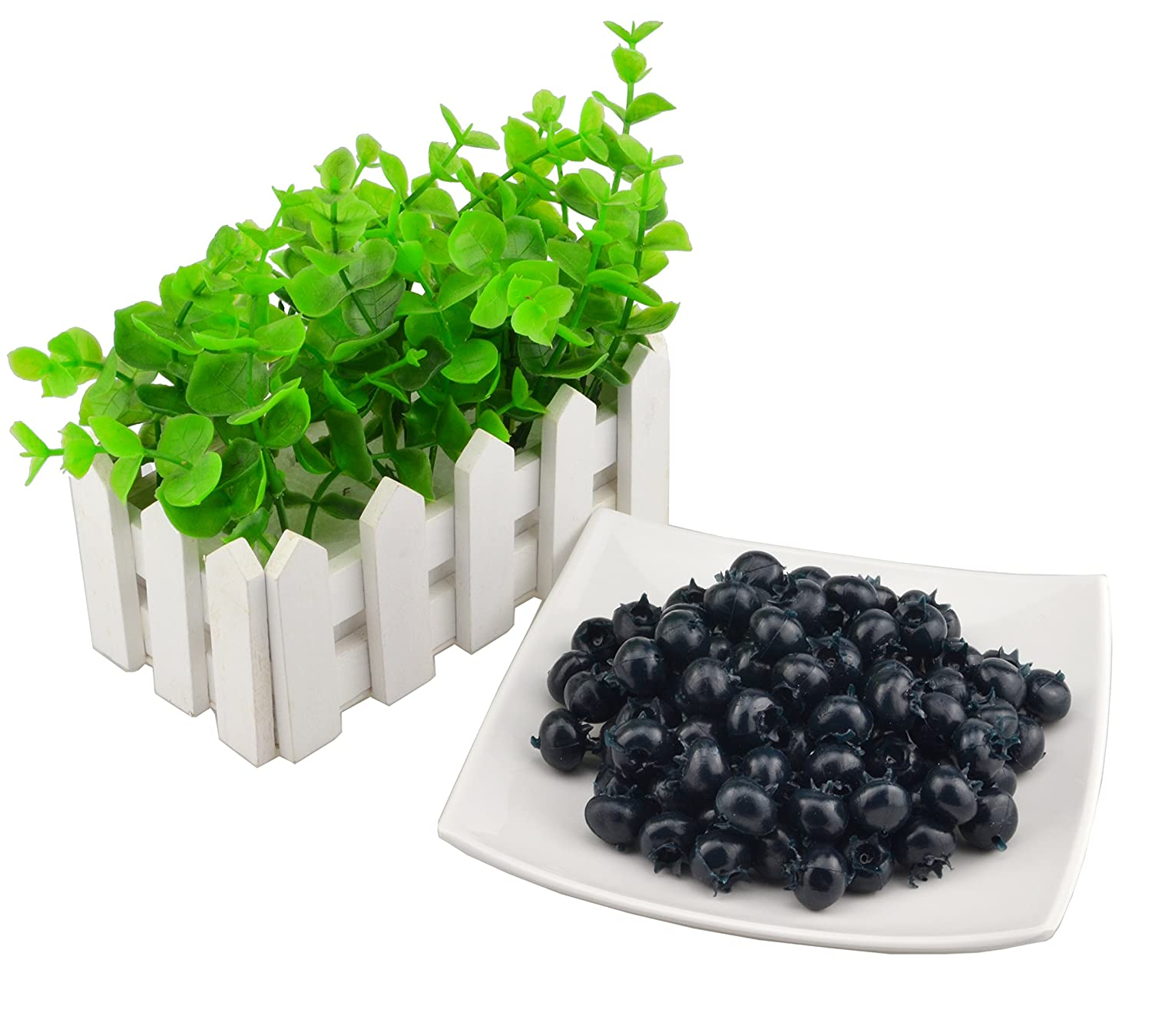 SAMYO Fake Fruit Blueberries Simulation Artificial Lifelike Blueberry for Home Kitchen Party Wedding Decoration Photography 50 Pcs Set