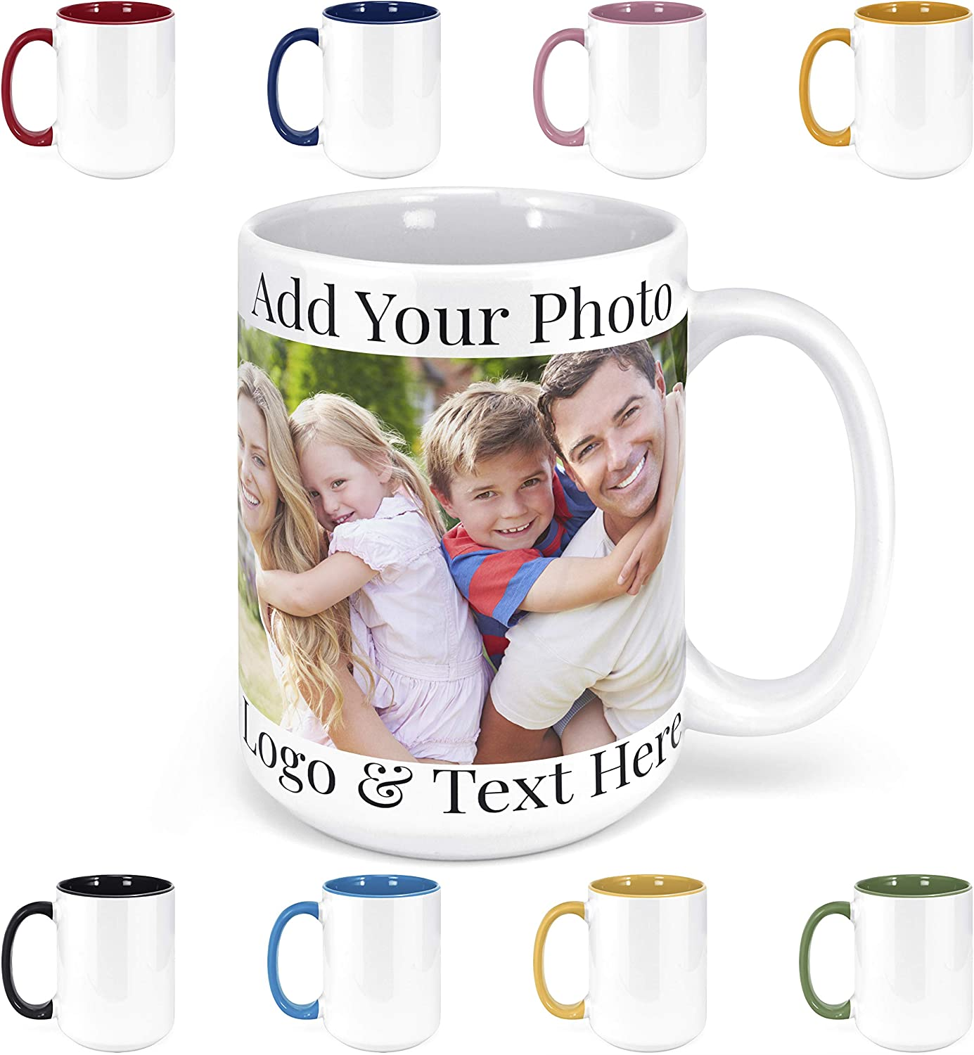 Amazon Com Custom Photo Coffee Mugs 15 Oz Personalized Mugs W Picture Text Name Personalized Gifts For V Day Boyfriend Girlfriend Office Christmas Gifts Custom Mugs With Pictures Taza Personalizadas Kitchen