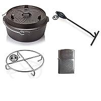 Startset Dutch Oven Petromax Gusseisen klein schwarz Firepot Garten Camping Picknick ✔ rund