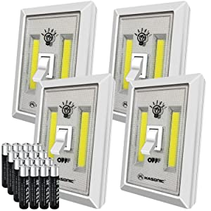 LED Night Light, Kasonic 200 Lumen Cordless COB LED Light Switch, Under Cabinet, Shelf, Closet, Garage, Kitchen, Stairwell and More, Battery(Included) Operated (4 Pack)