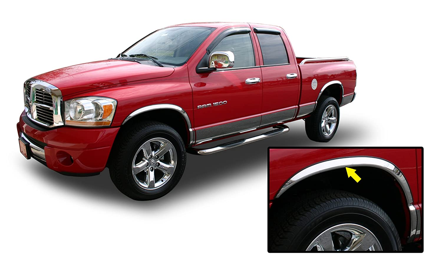 Amazon.com: 02-08 DODGE RAM CHROME FENDER TRIM Wheel Well Moulding 2WD 4WD 1500  2500 2002 2003 2004 2005 2006 2007 2008: Automotive