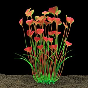 Alegi Large Freshwater Aquarium Plants Artificial Plastic 16 Inch,Fish Tank Plants Decoration Ornaments, Pink