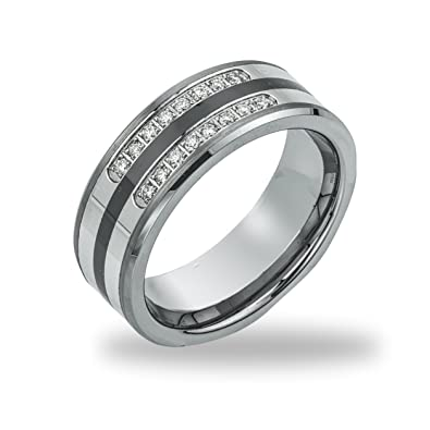 Mens Wedding Band.Mens 1 5ct Diamond Tungsten Wedding Band
