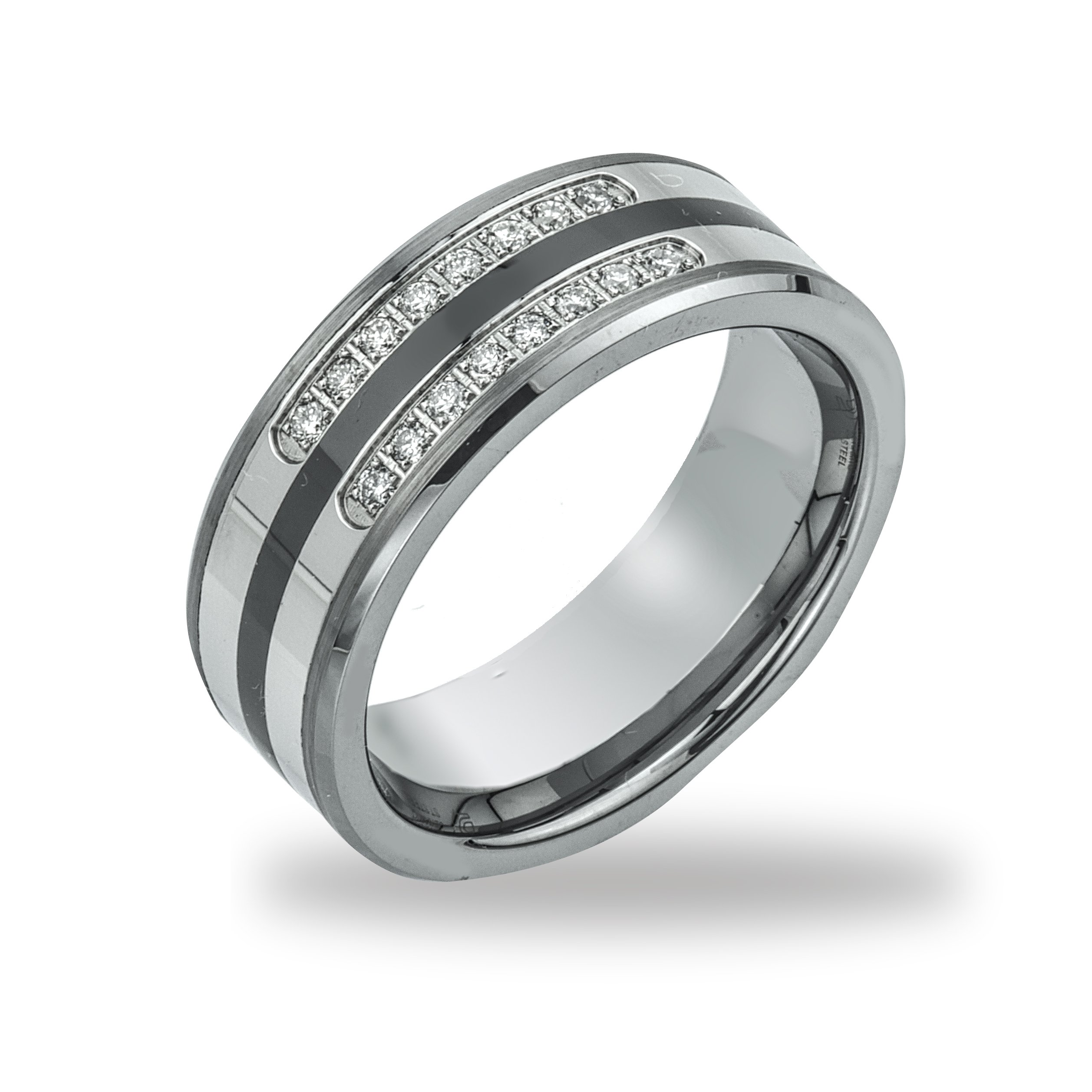 Mens Diamond Wedding Band in Tungsten, Ceramic and St Steel (0.20 carats, H-I I2)