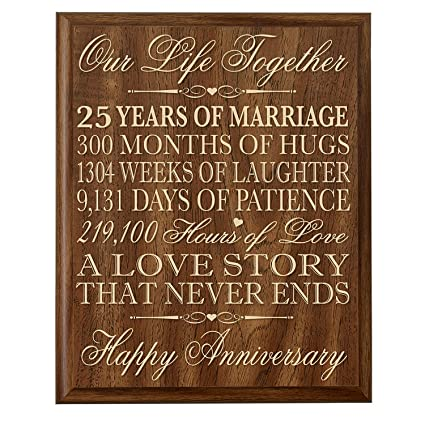 25 Wedding Anniversary Gift.Lifesong Milestones 25th Wedding Anniversary Wall Plaque Gifts For Couple 25th Anniversary Gifts For Her 25th Wedding Anniversary Gifts For Him 12 Wx