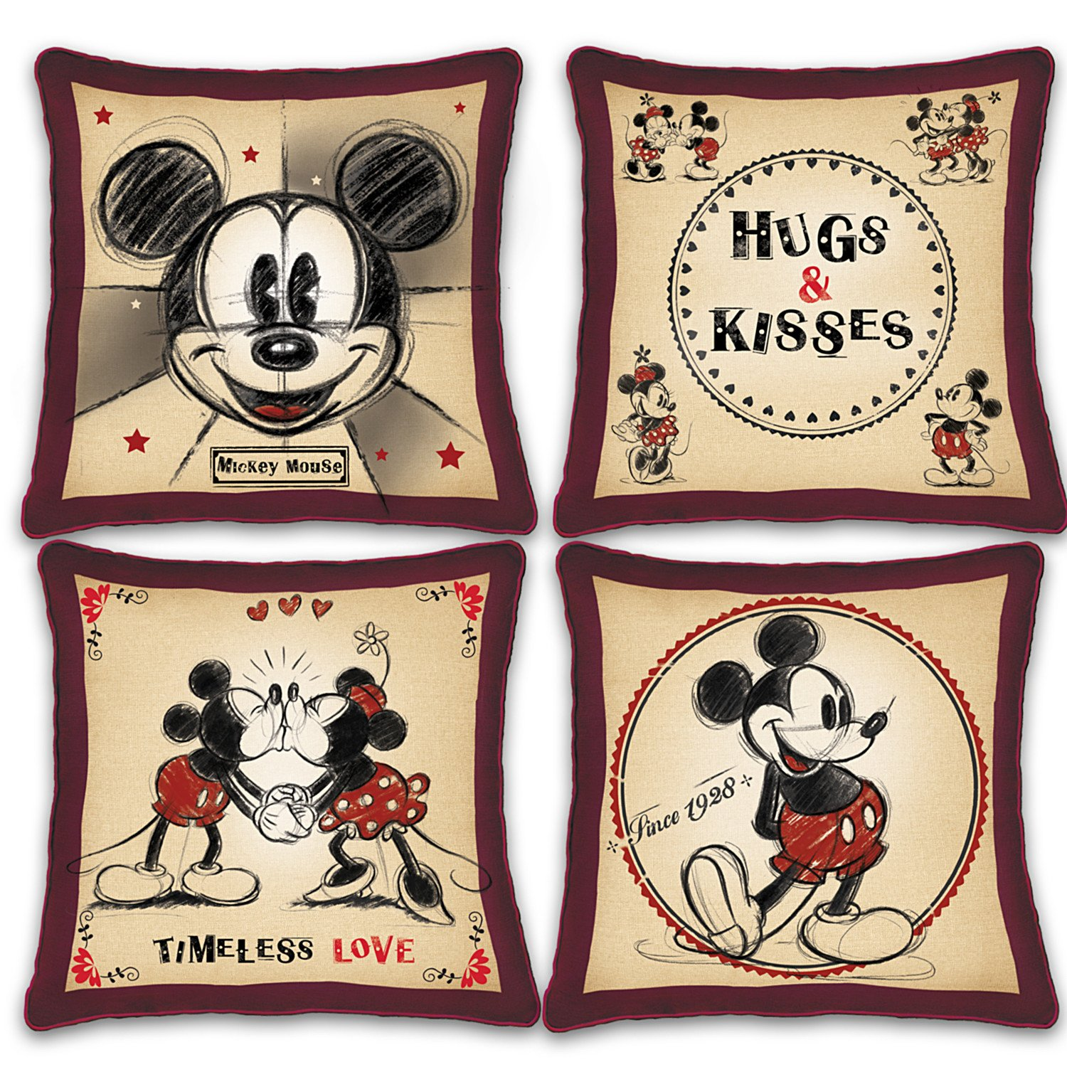 Disney Mickey Mouse and Minnie Mouse 4 Piece Pillow Set with Vintage Style Art by The Bradford Exchange