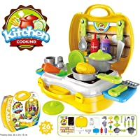 ivee international Plastic Kitchen Set Cooking Toy with Suitcase -26 Pieces