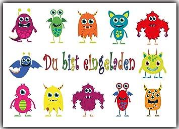 Einladungskarten Monster Kindergeburtstag Monsterparty Einladung