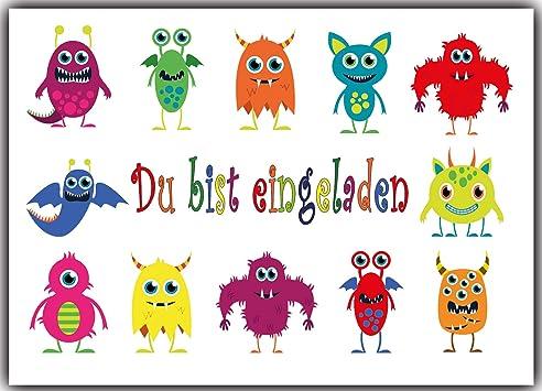 Einladungskarten Monster Kindergeburtstag Monsterparty Einladung Geburtstag  Kinder 8 Stück Für Jungen U0026 Mädchen