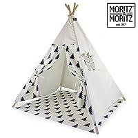 Moritz & Moritz Tipi Enfant - Motif avec des Arbres - Tente pour Enfants Tente de Jeu Idée Cadeau - avec Tapis de Sol et fenêtres - pour la Maison et Le Jardin