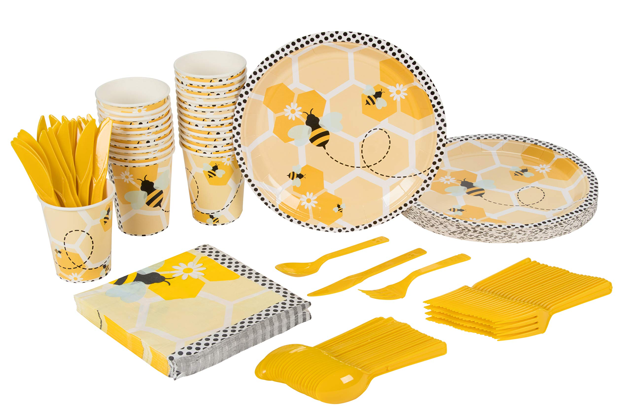 Bee Party Supplies - Serves 24 - Includes Plates, Knives, Spoons, Forks, Cups and Napkins. Perfect Birthday Party Pack for Kids Themed Parties and Baby Shower, Bumblebee Pattern
