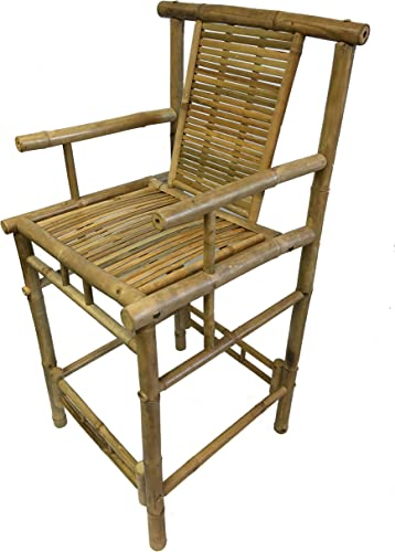 MGP Bamboo Tiki Bar Stool with Back and Arms