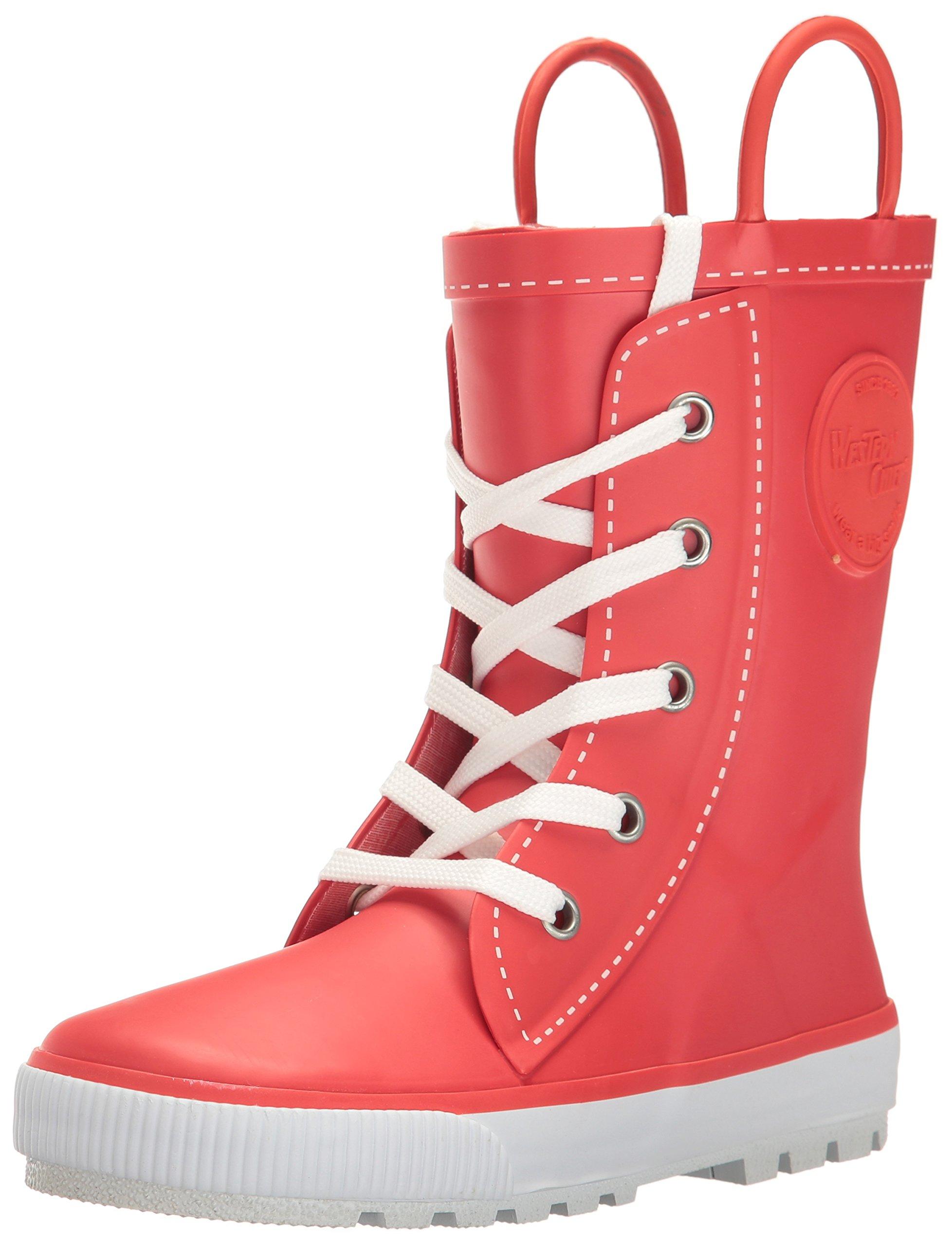 Western Chief Girls' Printed Rain Boot, Sneaker Red, 6 M US Toddler
