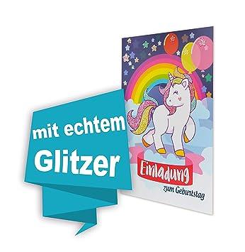 Einhorn 8 Stk Geburtstag Einladungskarten Glitzernd