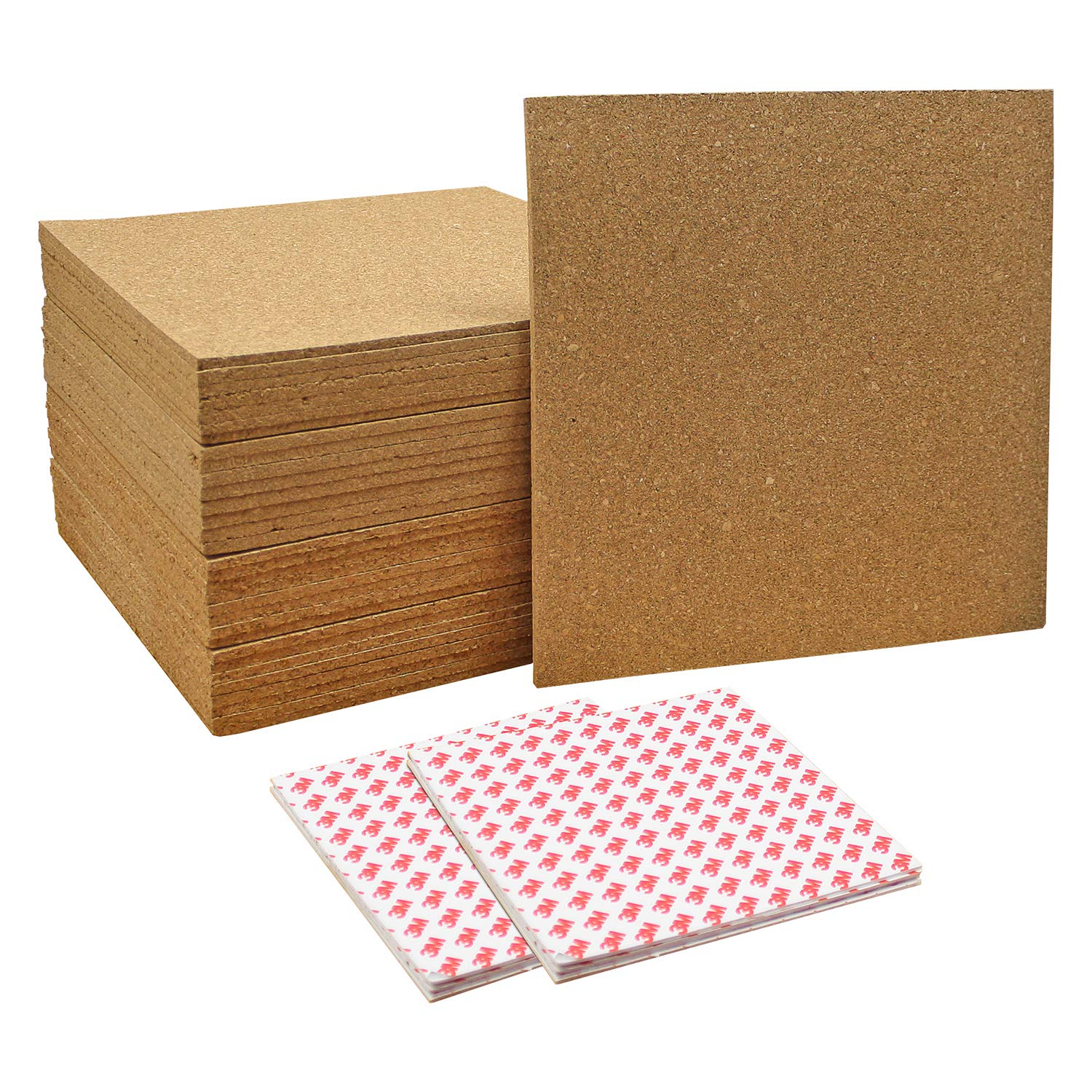 Thornton's Office Supplies Modular Frameless Cork Mini Wall Bulletin Board Tiles with 3M Adhesive, Natural, 12 Inch x 12 Inch, Frameless (32-Count)