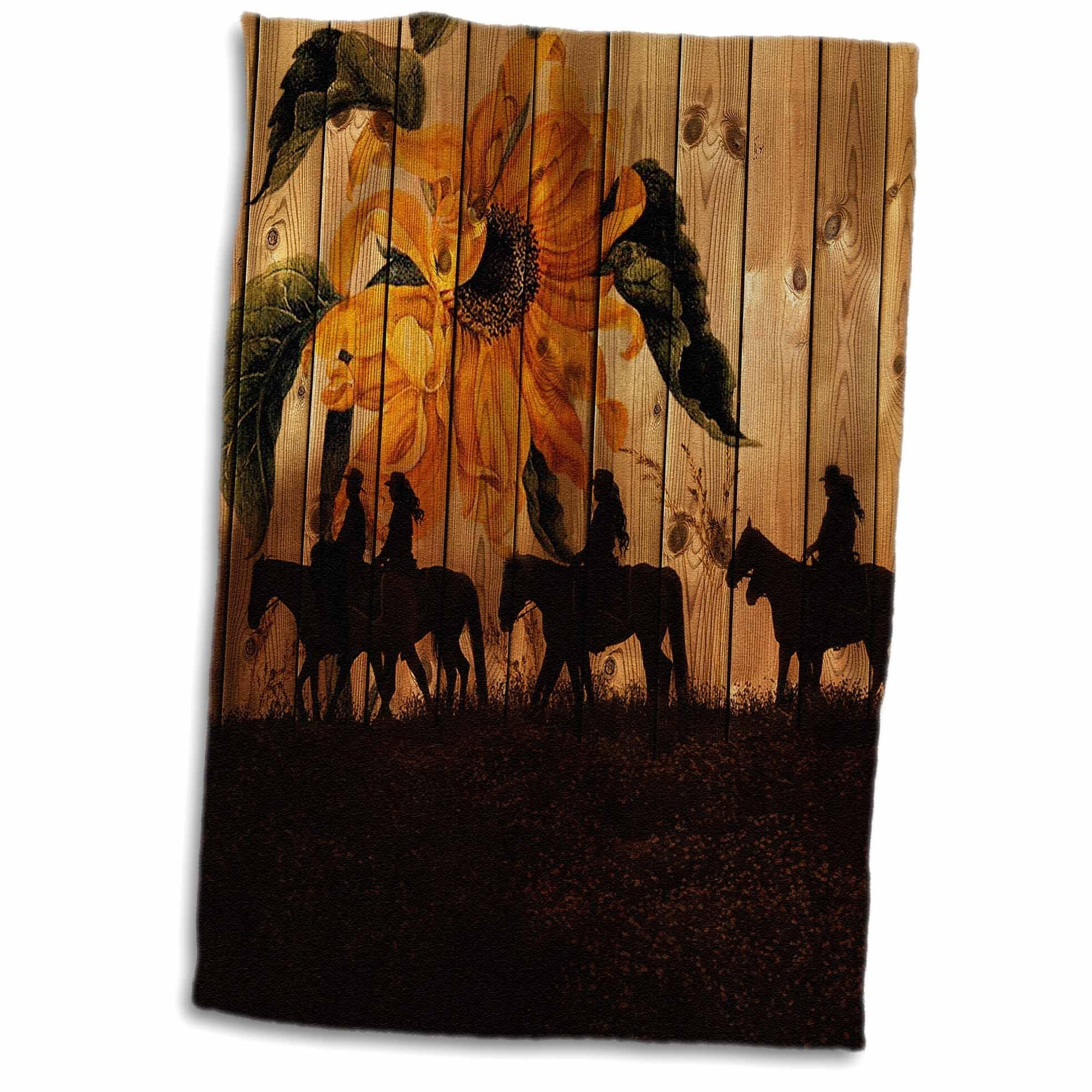 3D Rose Western Cowgirl Silhouettes Against Barn Wood with a Vintage Sunflower and Meadow. Towel, 15'' x 22'', Multicolor