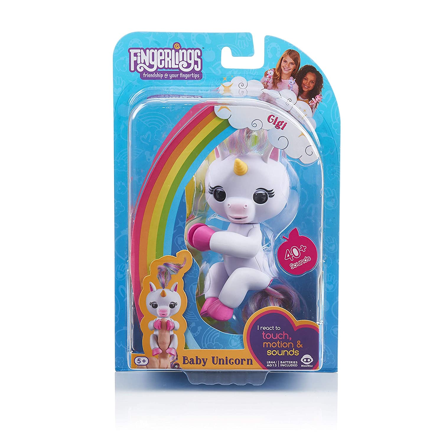 c344838ff Amazon.com: Fingerlings Baby Unicorn - Gigi (White with Rainbow Mane and  Tail) - Interactive Baby Pet - by WowWee: Toys & Games